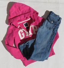 Lot GAP KIDS Blue Boot Leg Jeans + Pink Sweatshirt Hoodie Jacket Girl's sz 8 12