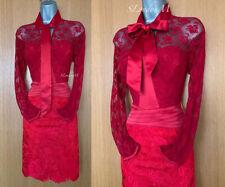 Karen Millen UK 12 Red Floral Lace 3/4 Sleeve Cocktail Party Races Shirt Dress