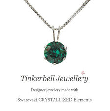 925 Sterling Silver Necklace w 6mm Solitaire Swarovski Emerald Crystal Pendant
