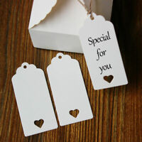 100pcs Rectangle Heart White Kraft Cardboard Paper Label Price Cards With Jute
