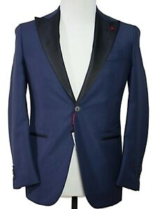 ISAIA Napoli Wool & Mohair Blue Tuxedo Suit 34 36 Handmade in Italy