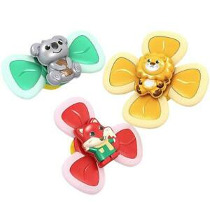 3Pcs Baby Bath Toys Cartoon Animal Rotating Suction Cups Dining Chairs Toys