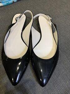 Boden Flat Black Patent Leather Slingback 38