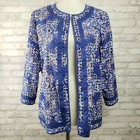 Chico's 2 cotton eyelet open front jacket blue boho paisley topper