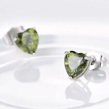 White Gold Filled Green Peridot Crystal Heart Stud Earrings Jewellery 8mm