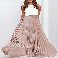 New Women's Pleated Retro Maxi Long Skirt Elastic Waist Band Chiffon Beach Dress