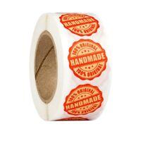 "500 StüCke Runde ""Handmade 100% Original"" Aufkleber Siegel Etiketten Rolle A k1u"