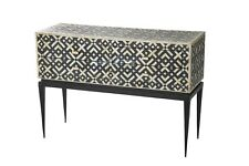 Handmade Bone Inlay Black White Geometric chest of Drawer