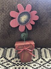 Primitive Distressed Wooden Red Daisy Flower, With Metal Stem