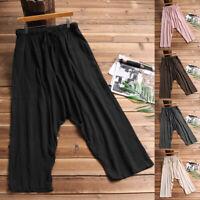 Womens Mens Couple Cotton Linen Harem Pant Plus Casual Hippy Vintage Trousers