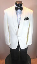 VINTAGE MENS LIGHT IVORY TUXEDO JACKET SHAWL LAPEL NEIL ALLEN 39R 4PC #515