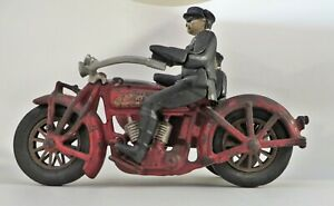 CAST IRON HUBLEY INDIAN POLICE MOTORCYCLE W/ SIDECAR BALLOON TIRES CLICKER WORKS
