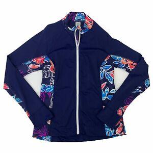Tommy Bahama Swim Jacket Women Size XL Floral Mock Neck Full Zip Beach Shirt