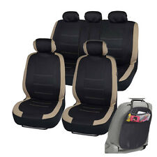 Car Seat Covers for Auto Beige Venice Series Split Bench w/ Organizer Kick Mat