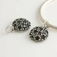 Sterling Silver 925 Black Cubic Zirconia Floral Pendant Dangle Bead Charm