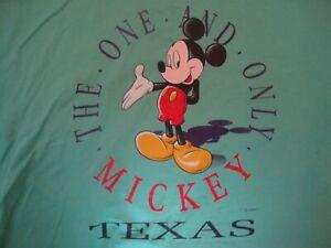Vtg 90's Walt Disney Mickey Mouse Texas Green T Shirt Size XL