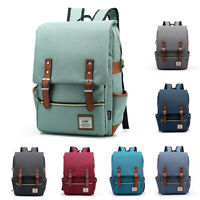 Canvas School Bag Backpack Bookbag Laptop Travel Rucksack Satchel Shoulder Pack