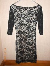Ladies lined black lace party dress UK SIZE 8 EX CONDITION