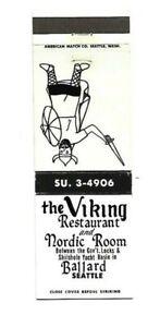 Vintage Matchbook Cover Viking Restaurant Ballard Seattle WA A664