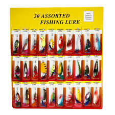Lot 30pcs Fishing Lures Spoon Crankbait Minnow Spinner Bait Tackle Hook Metal