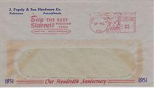 POSTAL HISTORY ADVERTISING METERED COM COVER 1951 J FEGELY HARDWARE POTTSTOWN #1