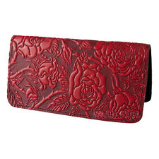 Wild Rose Red Leather Checkbook Cover by Oberon Design COMBINED SHIPPING