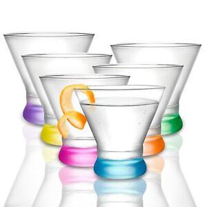 JoyJolt Colored Party Stemless Martini Glasses Set of 6, 7 oz Cocktail Glasses