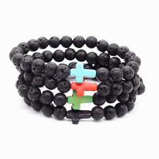 Fashion Men's Beaded Yoga Jewelry 8mm Lava Stone Beads Cross Bracelet Party Gift