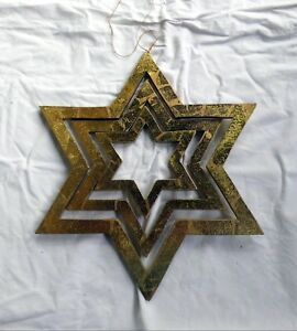 Christmas Star Wood Christmas Window Decoration (Approx. 29x29cm) Gold-Coloured