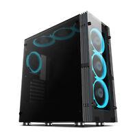 Aigo Atlantis ATX Mid Tower Computer Gaming PC Case With 7pcs LED ICE Blue Fans