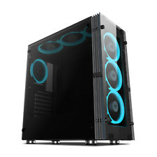 Aigo Atlantis ATX Mid Tower Computer Gaming PC Case With 7pcs ICE Blue Fans