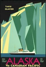 """Vintage Illustrated Travel Poster CANVAS PRINT Alaska Canadian Pacific 24""""X16"""""""