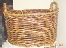 LARGE BROWN WICKER BASKET WITH  HANDLES- NEW *