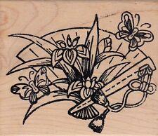 "iris fan hero art Wood Mounted Rubber Stamp 2 1/2x 3""  Free Shipping"