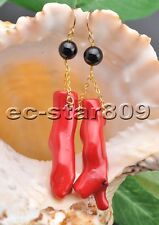 S2038 45mm Red Coral branch Round Agate Bead Dangle Earring