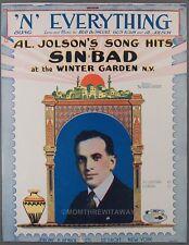 1918 Al Jolson Sheet Music N Everything Sinbad De Sylva & Kahn Winter Garden Ny