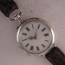 Early Fully Serviced EVA '1900 Swiss Silver & Gold Wrist Watch Perfect