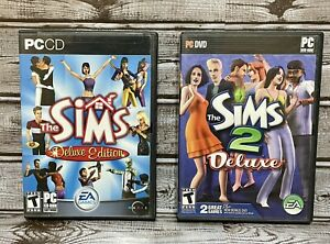 Lot of 2 Sims PC Games: The Sims Deluxe Edition & The Sims 2 Deluxe Edition