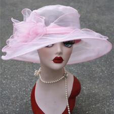 1x Women Kentucky Derby Wide Brim Wedding Church Occasional Organza Sun Hat