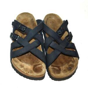 BIRKENSTOCK Birki's Lugano Blue Vegan Leather Sandals 39 EU, 8 US Narrow