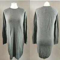 New PARAPHRASE Women's Jumper Dress Grey Wool Blend Knit Long Sleeve Work M 12