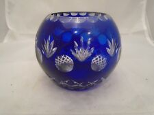 Crystal Cut Glass Cobalt Blue Candle Holder