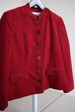 Alfred Dunner 100% Polyester Red Velvet 6 Button Lined Jacket Size - 14