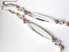 Extravagante Bergkristall-Amethyst-Perle-Ohrhänger, 925er Silber