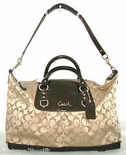 NEW COACH ASHLEY KHAKI+MAHOGANY JACQUARD LOGO SATCHEL,HAND BAG 15440 MSRP