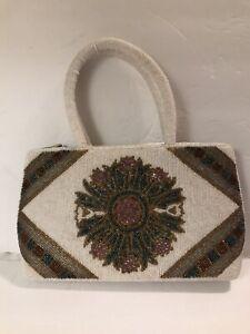 Iridescent Seed Beaded Handbag White With Multicolored Mandala on Both Sides