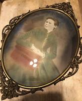 "ANTIQUE CONVEX BUBBLE GLASS WOMAN PORTRAIT ORNATE OVAL PICTURE FRAME  20""By  14"""