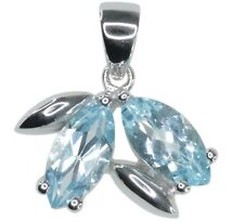 Sky Blue Topaz Gemstone Twin Marquise Sterling Silver Pendant + Chain