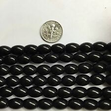 "Black Stone 8x10mm Oval Barrel Natural Gemstone Beads 15.5 "" for Jewelry Making"
