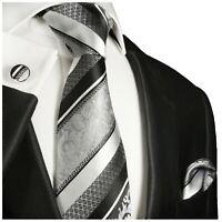 Paul Malone Krawatte silber schwarz Seide + Einstecktuch + Manschettenknöpfe 382
